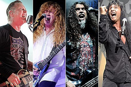 Metallica's James Hetfield, Megadeth's David Mustaine, Slayer's Tom Araya, and Anthrax's Joey Belladonna
